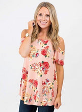 Blush Red Floral Loose Cold Shoulder Tunic Top
