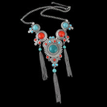Turquoise and Red Imitation Gemstones Fashion Necklace