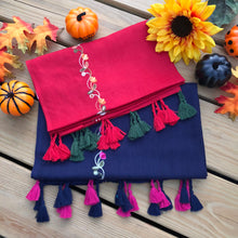 Floral Embroidered Scarf with fringes- Navy