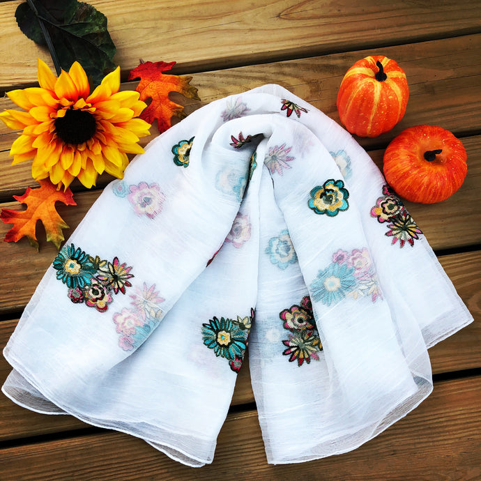Embroidered Scarf - White