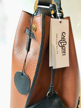 CARBOTTI 412 Italian Leather Shoulder Handbag with Accessory Pouch - Tan/Black