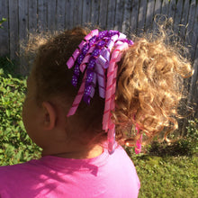 Girls Curly High Quality Ribbon Ponytail Holder- Purple/ Pink