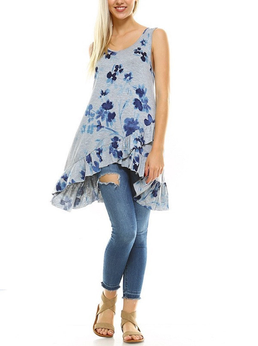 Gray Blue Floral Knit Ruffle Tunic Top