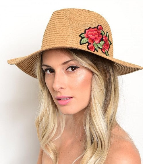 Light Brown Straw Knitted Floral Detail Beach Sun Summer Hat