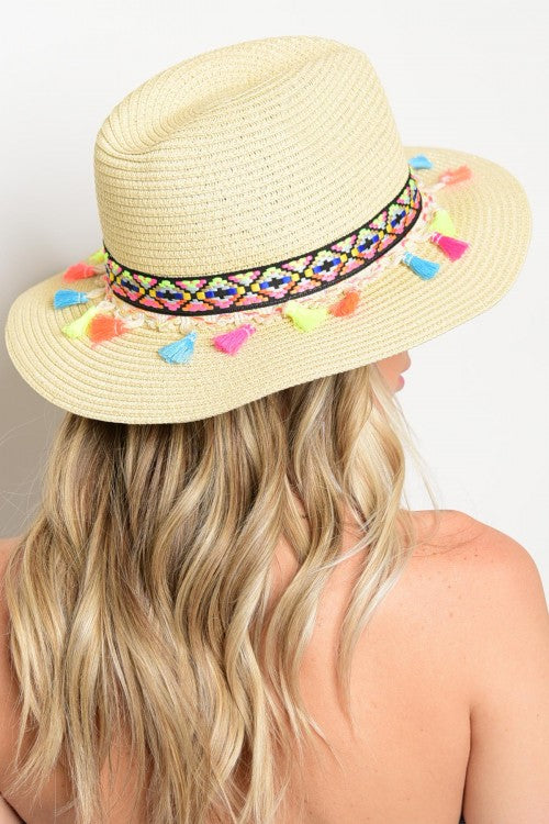 Ivory Multicolor Tassel Knitted Straw Beach Sun Hat