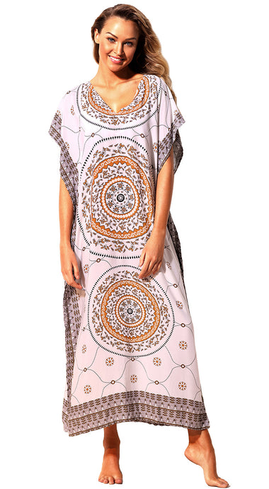 Khaki Bohemian Print Beach Kaftan Maxi Dress Cover-Up