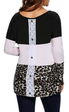 Black, Light Pink, Leopard Color Block Jersey Long Sleeve Top