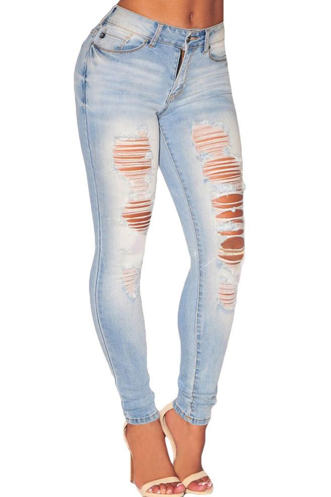 Light Wash Denim High Waist Ripped Skinny Jeans