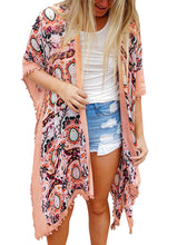 Peach Printed Bohemian Tassel Beach Wear Kimono Cover up
