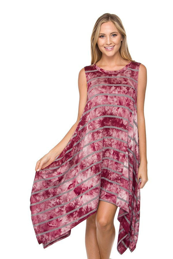 Burgundy Tie-dye Print Asymmetrical Hem Dress