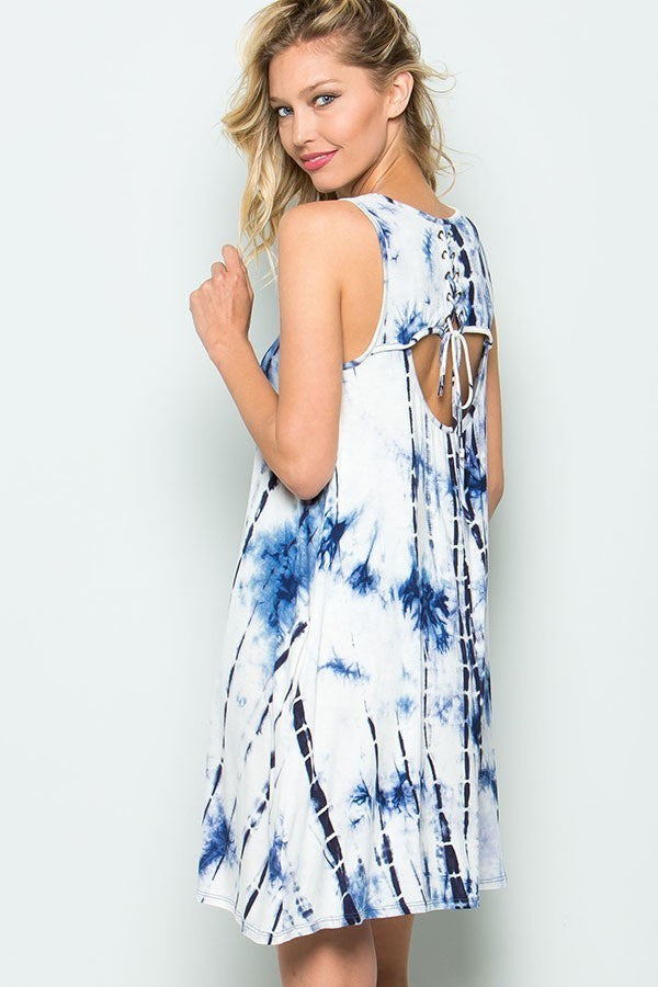 Blue Sleeveless Tie Dye Dress with Lace Up & Cut Out Detail