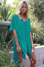 Dark Mint Crochet Knitted Tassel Tie Kimono Beachwear Cover Up