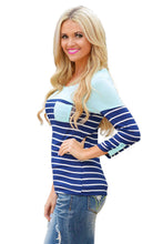 Mint Green Shoulder Blue & White Striped Knit Top