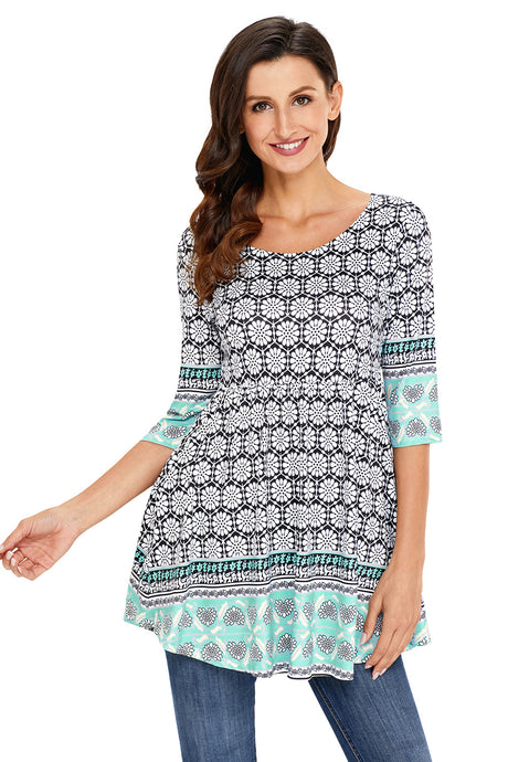 Mint Splice Accent Floral Print 3/4 Sleeve Stretch Tunic Top
