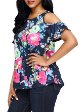 Navy Floral Print Cold Shoulder Top