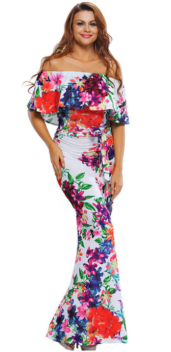 Multi-color Floral Print Off Shoulder Belted Maxi Dress