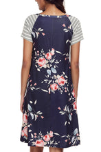 Navy Blue Floral Print A-line Knit T-shirt Dress