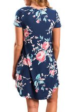Navy blue Floral V-neck Pocket Shirt Dress