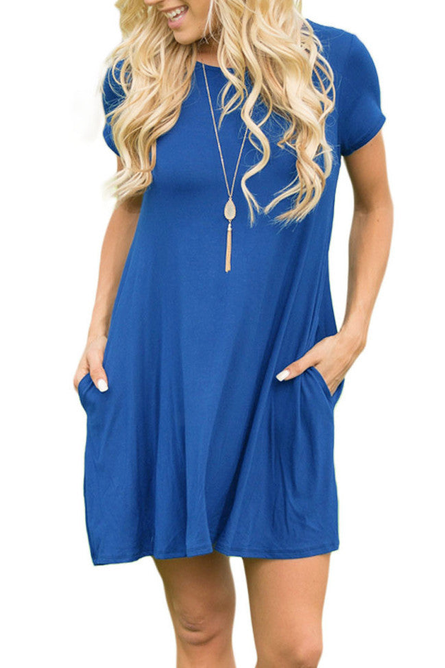 Royal Blue Short Sleeve Flared Pocket Tunic Dress
