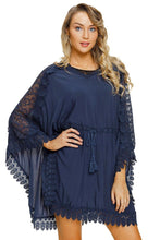 Navy Crochet Lace Kaftan Beach Cover Up