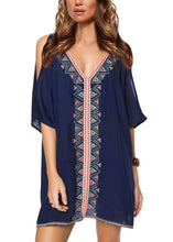Navy Embroidered Cold Shoulder Beach Cover Up