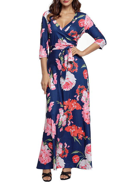 Navy Floral Print 3/4 Sleeve Wrapped Belted Maxi Dress