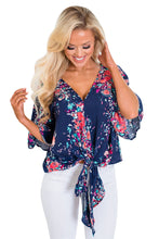 Navy Floral Printed Tie Front Kimono Sleeve Blouse