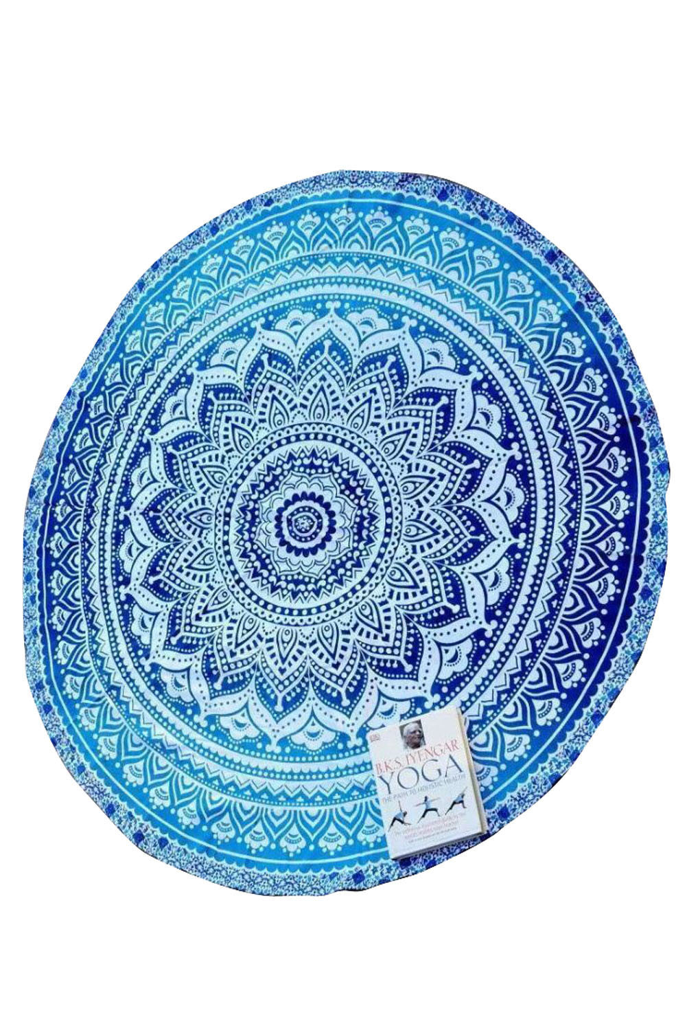 Round Picnic Beach Throw Blanket Home Decor Tapestry- Blue