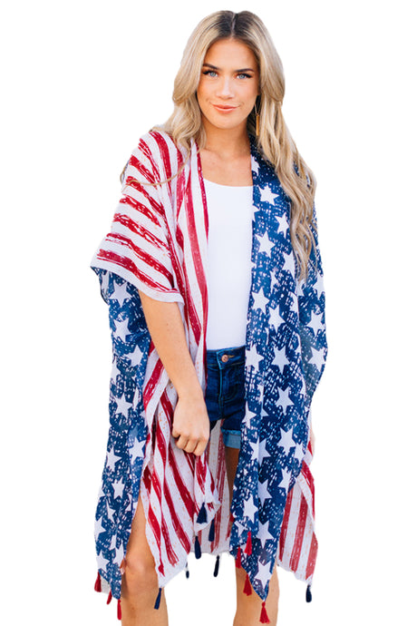 One Nation Flag Print Beach Wear Kimono Cover up