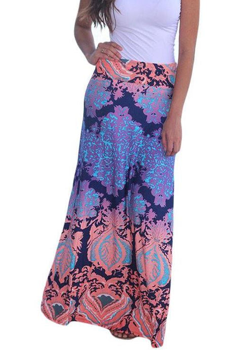 Peach Purple Printed Maxi Skirt