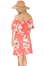 Orange Ruffle Floral Off Shoulder Dress