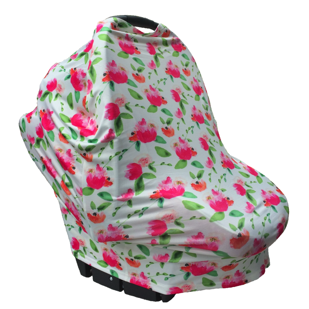 Floral Multi Use Baby Nursing Scarf Car Seat Canopy Cover Pink Green
