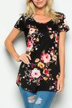 Black Floral Short Sleeve High Low Knit Top