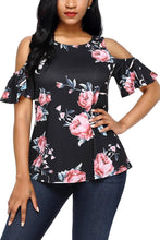 Pink Floral Print Black Background Cold Shoulder Top