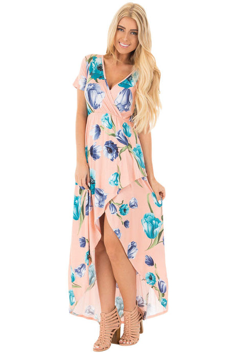 Light Pink Floral Print Maxi Dress