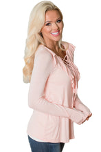 Black or Pink Crisscross V-Neck Ruffle Detail Long Sleeve Top