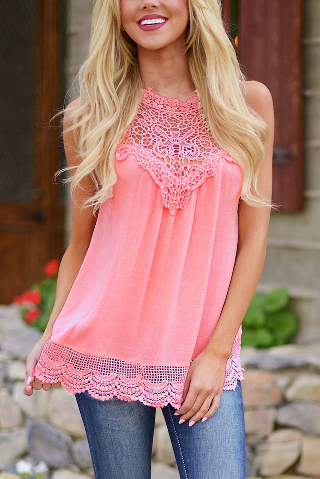 Sleeveless Crochet Lace Top - Pink