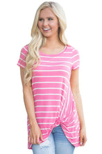 Pink White Stripe Front Knot Short Sleeves Tee Top