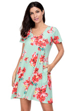 Light Green Floral V-neck Stretch Pocket Shirt Dress