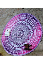Round Picnic Beach Throw Blanket Home Decor Tapestry - Purple
