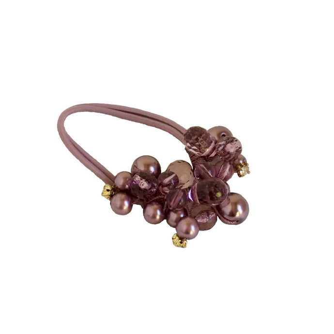 Crystals Pearls Hair Ponytail Holder Band - Purple Pearl