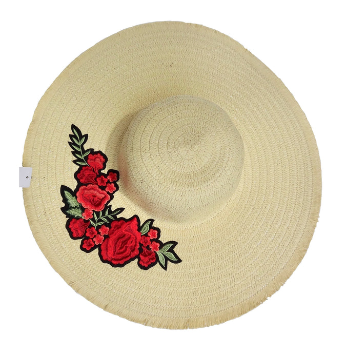 Ivory Straw Knitted Floral Detail Beach Sun Floppy Hat