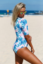 Blue Leaves Print Zip Front Half Sleeve One Piece Swimsuit