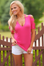 Cold Shoulder Detail Knit Top - Rose pink
