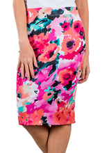 Pink Red Floral Print Stretch Pencil Skirt