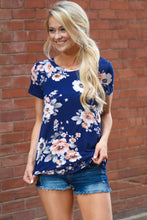 Navy Floral Stretch Knit T-shirt Top