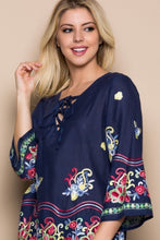 Navy Embroidered Lace Up Woven Top