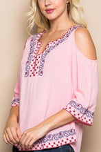 Pink Embroidered Cold Shoulder Top