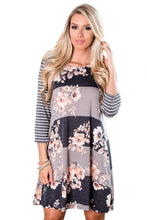 Striped and Florals Print Gray Peach 3/4 Sleeve Tunic Dress