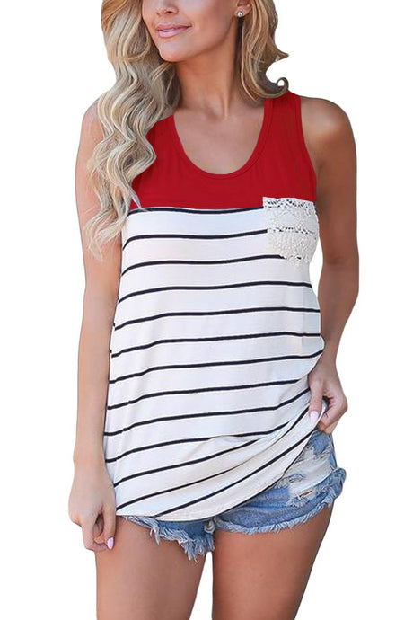 White Striped Red Block Lace Pocket Racerback Tank Top